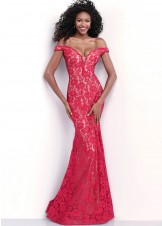 Jovani 67304 Full Length Off The Shoulder Evening Gown Red