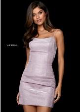 Sherri Hill 53197 metallic electric pink homecoming dress